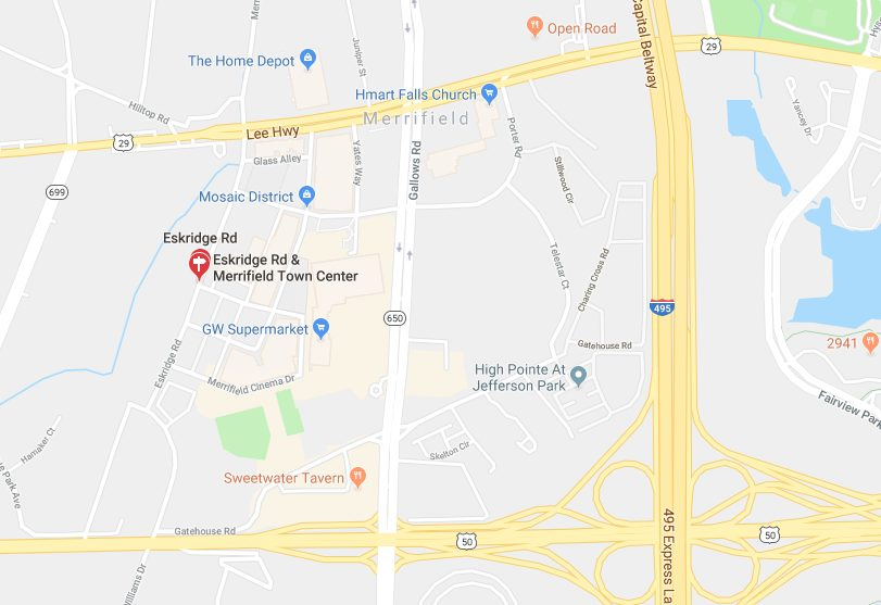 Mosaic District Map Road Closures Due to Gas Leak Near Mosaic District | Tysons Reporter