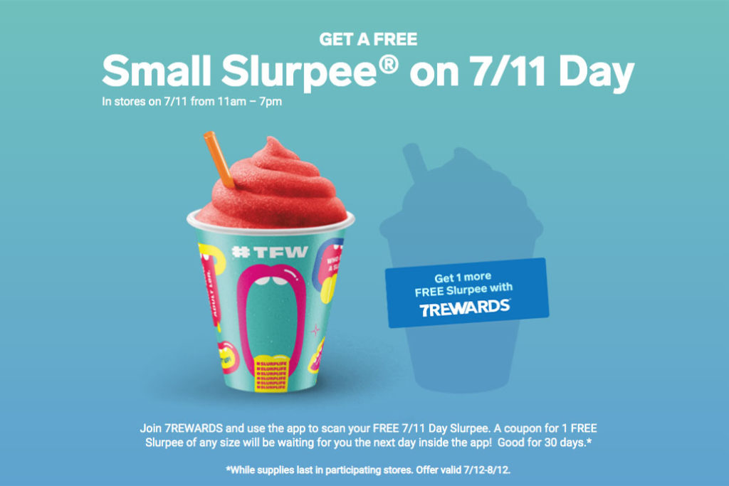 are there free slurpees at 7 eleven today