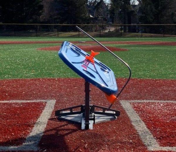 swing path trainer on baseball field
